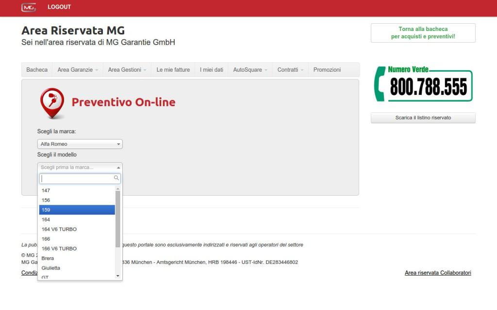 Scelta veicolo mg garantie